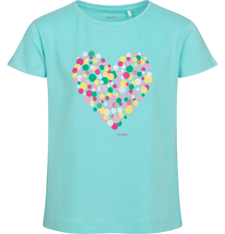 Endo - T-shirt z krótkim rękawem dla dziewczynki, z sercem, niebieski, 9-13 lat D05G007_1