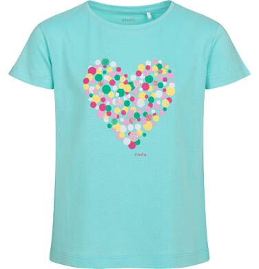 T-shirt z krótkim rękawem dla dziewczynki, z sercem, niebieski, 9-13 lat D05G007_1
