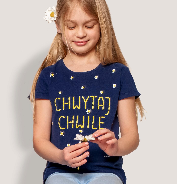 Endo - T-shirt z krótkim rękawem dla dziewczynki, z napisem, granatowy, 9-13 lat D05G009_1