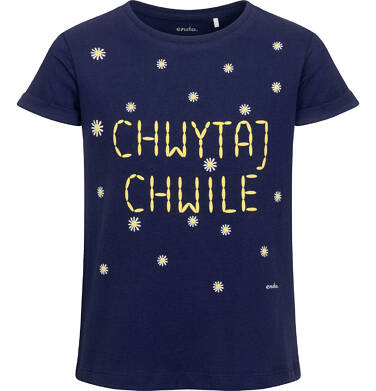 T-shirt z krótkim rękawem dla dziewczynki, z napisem, granatowy, 9-13 lat D05G009_1