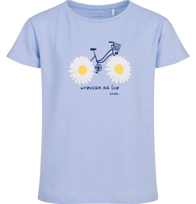 Endo - T-shirt z krótkim rękawem dla dziewczynki, z rowerem, niebieski, 9-13 lat D05G010_1