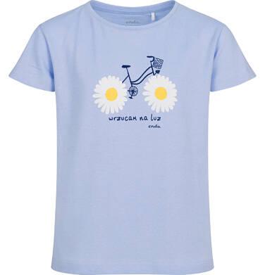 T-shirt z krótkim rękawem dla dziewczynki, z rowerem, niebieski, 9-13 lat D05G010_1