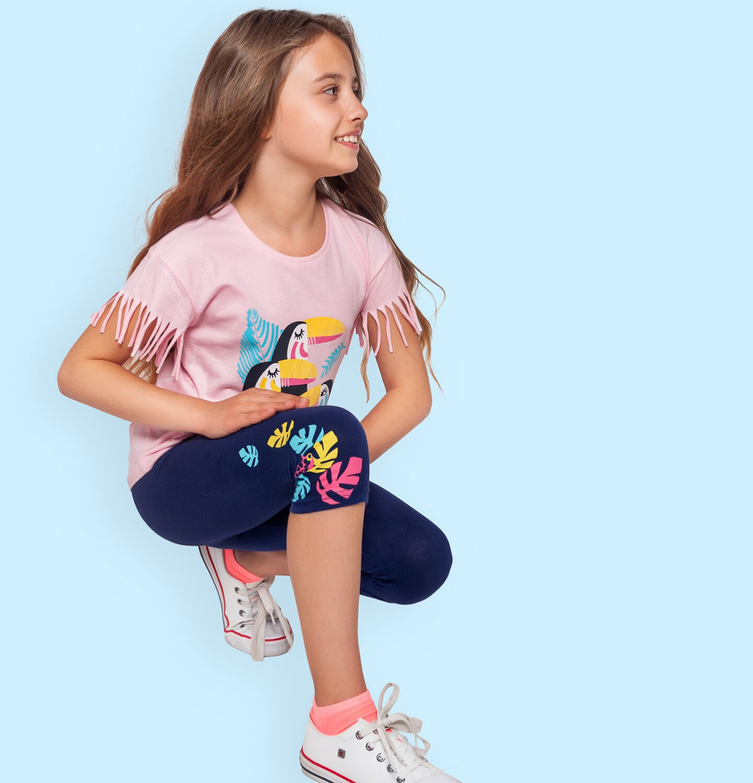 Endo - Legginsy 3/4 dla dziewczynki, z kolorowymi listkami, srebrna gumka w pasie, 2-8 lat D06K035_1