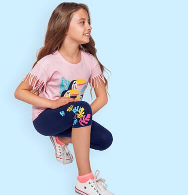 Endo - Legginsy 3/4 dla dziewczynki, z kolorowymi listkami, srebrna gumka w pasie, 2-8 lat D06K035_1,1