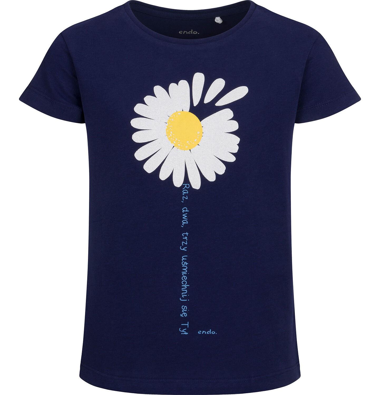 Endo - T-shirt z krótkim rękawem dla dziewczynki, ze stokrotką, granatowy, 9-13 lat D05G011_1
