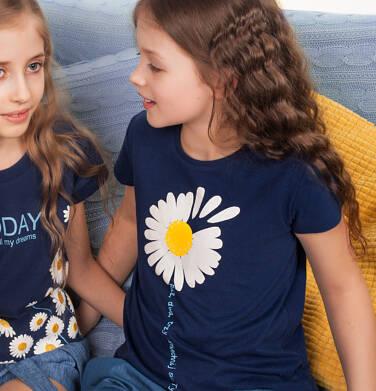 Endo - T-shirt z krótkim rękawem dla dziewczynki, ze stokrotką, granatowy, 9-13 lat D05G011_1,3