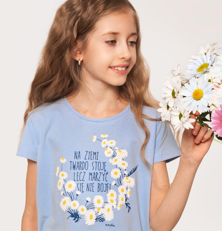 Endo - Bluzka z krótkim rękawem dla dziewczynki, ze ściągaczem, ze stokrotkami, niebieska, 9-13 lat D05G014_1