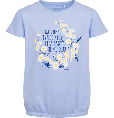 Endo - Bluzka z krótkim rękawem dla dziewczynki, ze ściągaczem, ze stokrotkami, niebieska, 9-13 lat D05G014_1,2