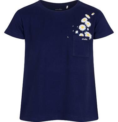 T-shirt z krótkim rękawem dla dziewczynki, z kieszonką, granatowy, 2-8 lat D05G035_1