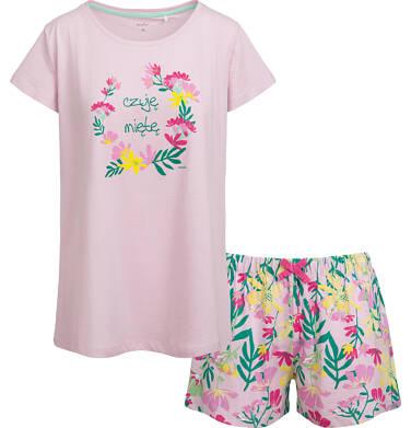 Piżama damska z krótkim rękawem, motyw w kwiaty Y03V002_1