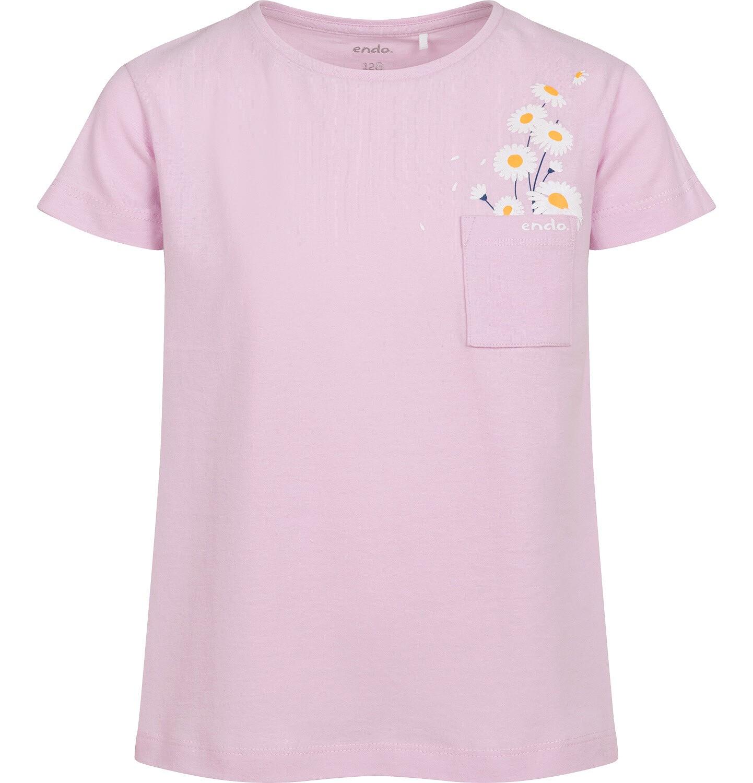 Endo - T-shirt z krótkim rękawem dla dziewczynki, z kieszonką, różowy, 2-8 lat D05G035_2