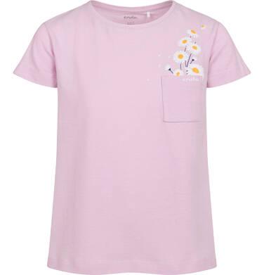 Endo - T-shirt z krótkim rękawem dla dziewczynki, z kieszonką, różowy, 2-8 lat D05G035_2,1