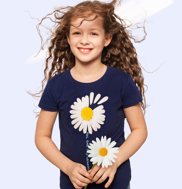 Endo - T-shirt z krótkim rękawem dla dziewczynki, ze stokrotką, granatowy, 2-8 lat D05G042_1