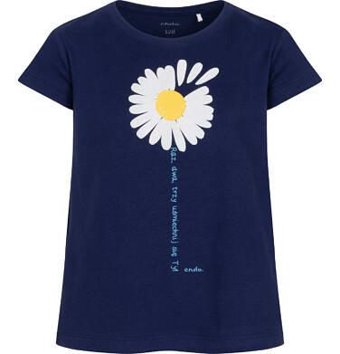 Endo - T-shirt z krótkim rękawem dla dziewczynki, ze stokrotką, granatowy, 2-8 lat D05G042_1 17