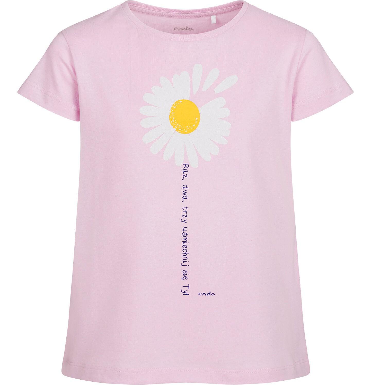 Endo - T-shirt z krótkim rękawem dla dziewczynki, ze stokrotką, różowy, 2-8 lat D05G042_2