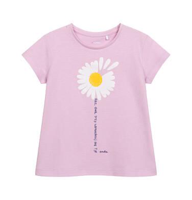 Endo - T-shirt z krótkim rękawem dla dziewczynki, ze stokrotką, różowy, 2-8 lat D05G042_2,3