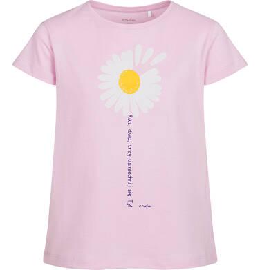 T-shirt z krótkim rękawem dla dziewczynki, ze stokrotką, różowy, 2-8 lat D05G042_2