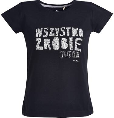 """T-shirt """"Wszystko zrobię jutro""""  dla dziewczynki 3-8 lat D81G180_1"""