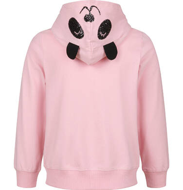 Endo - Rozpinana bluza z kapturem dla dziewczynki, z uszami pandy, różowa, 2-8 lat D03C017_1