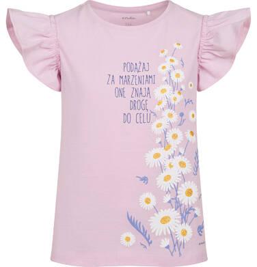 Endo - Bluzka z krótkim rękawem dla dziewczynki, rękawki z falbanką, ze stokrotkami, różowa, 2-8 lat D05G048_1 14
