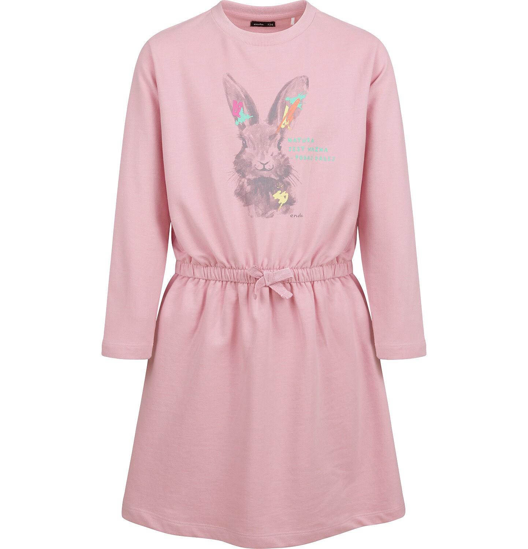 Endo - Sukienka z długim rękawem, zającem, różowa, 9-13 lat D04H016_1