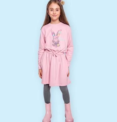 Endo - Sukienka z długim rękawem, zającem, różowa, 9-13 lat D04H016_1 2
