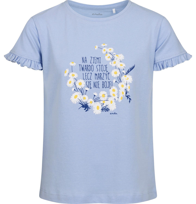 Endo - Bluzka z krótkim rękawem dla dziewczynki, rękawki z falbanką, ze stokrotkami, niebieska, 2-8 lat D05G051_1