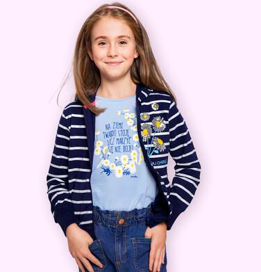 Endo - Bluzka z krótkim rękawem dla dziewczynki, rękawki z falbanką, ze stokrotkami, niebieska, 2-8 lat D05G051_1 36