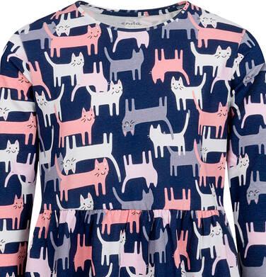 Endo - Sukienka z długim rękawem, deseń w koty, 2-8 lat D04H021_1 1