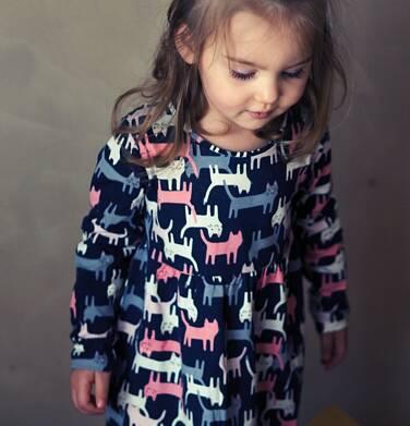 Endo - Sukienka z długim rękawem, deseń w koty, 2-8 lat D04H021_1 12