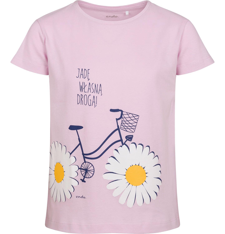 Endo - T-shirt z krótkim rękawem dla dziewczynki, z rowerem, różowy, 2-8 lat D05G060_1