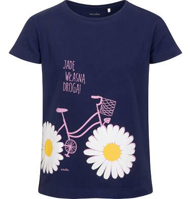 Endo - T-shirt z krótkim rękawem dla dziewczynki, z rowerem, granatowy, 2-8 lat D05G060_2 10