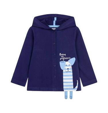 Rozpinana bluza z kapturem dla dziecka do 2 lat, z pieskiem, granatowa N03C009_1