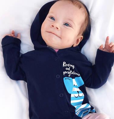 Endo - Rozpinana bluza z kapturem dla dziecka do 2 lat, z pieskiem, granatowa N03C009_1