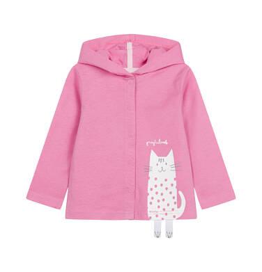 Endo - Rozpinana bluza z kapturem dla dziecka do 2 lat, z kotem, różowa N03C012_1 23