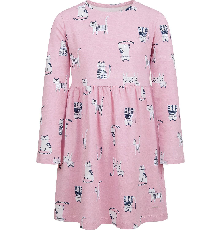 Endo - Sukienka z długim rękawem, deseń w koty, różowa, 2-8 lat D04H027_4