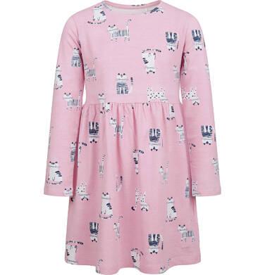 Sukienka z długim rękawem, deseń w koty, różowa, 2-8 lat D04H027_4