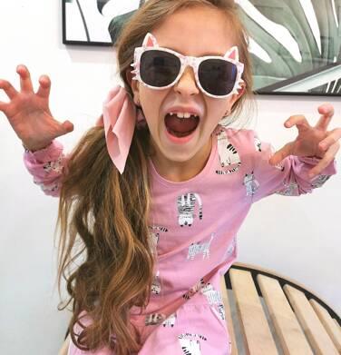 Endo - Sukienka z długim rękawem, deseń w koty, różowa, 2-8 lat D04H027_4 8