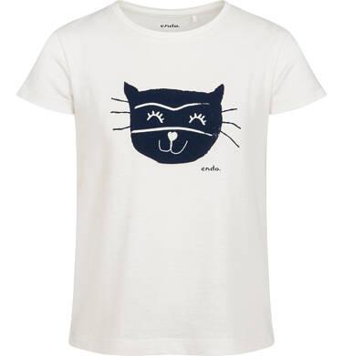 T-shirt z krótkim rękawem dla dziewczynki, z kotem, biały, 9-13 lat D05G075_1