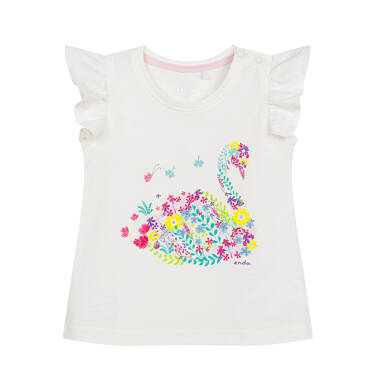 Endo - Bluzka z krótkim rękawem dla dziecka do 2 lat, z kwiecistym łabędziem i motylkowym rękawem N03G017_1 31