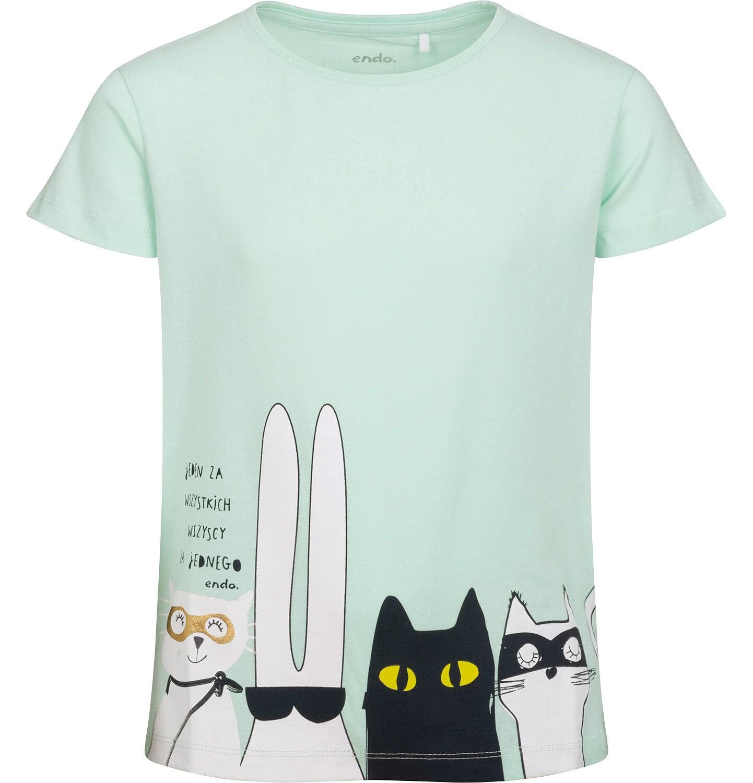 Endo - T-shirt z krótkim rękawem dla dziewczynki, z bohaterami, zielony, 9-13 lat D05G085_1