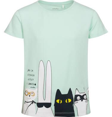 Endo - T-shirt z krótkim rękawem dla dziewczynki, z bohaterami, zielony, 9-13 lat D05G085_1,1