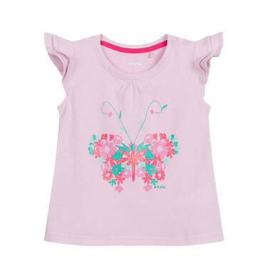 Bluzka z krótkim rękawem dla dziecka do 2 lat, z motylem, różowa N03G018_1