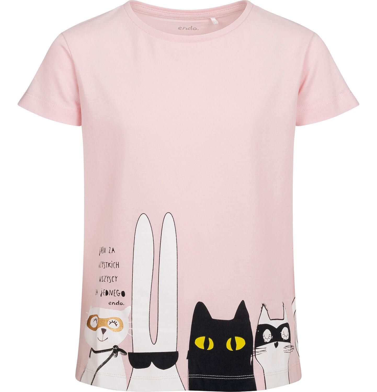 Endo - T-shirt z krótkim rękawem dla dziewczynki, z bohaterami, różowy, 9-13 lat D05G085_2