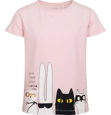 T-shirt z krótkim rękawem dla dziewczynki, z bohaterami, różowy, 9-13 lat D05G085_2