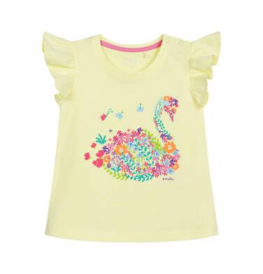 Endo - Bluzka z krótkim rękawem dla dziecka do 2 lat, z łabędziem, żółta N03G034_1