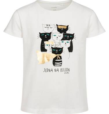 T-shirt z krótkim rękawem dla dziewczynki, z kotami, biały, 2-8 lat D05G087_1