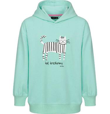 Bluza z kapturem dla dziewczynki, kot kreskowy, miętowa, 2-8 lat D03C008_1