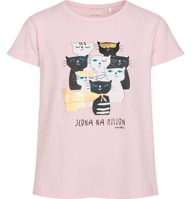 T-shirt z krótkim rękawem dla dziewczynki, z kotami, różowy, 2-8 lat D05G087_2