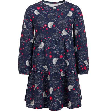 Endo - Sukienka z długim rękawem, z falbanką i deseniem, 9-13 lat D04H055_1,1
